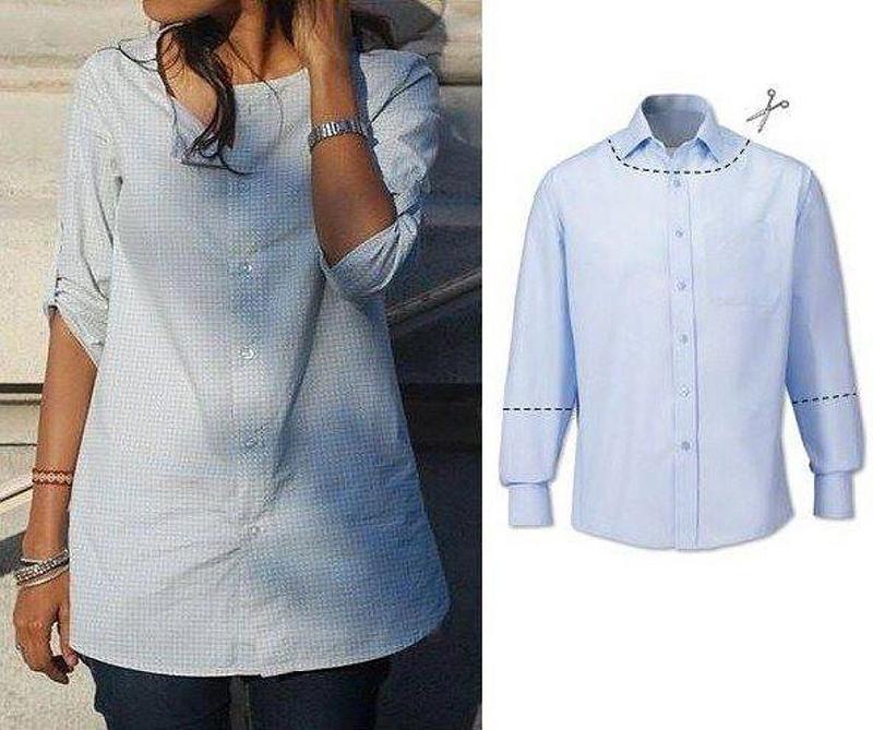 переделка мужской рубашки в блузку