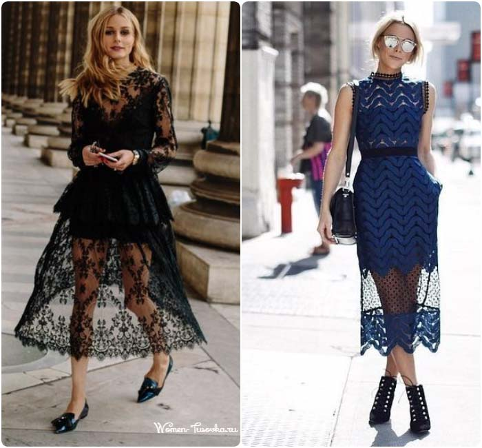 Синее и черное платье из кружева