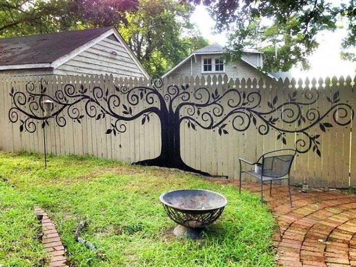 легкие рисунки на заборе