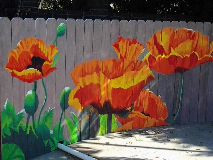 рисунки на заборе в саду