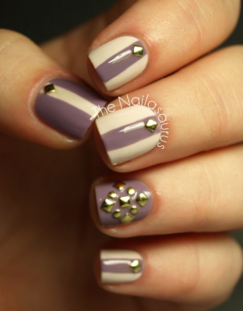 Studded mani from The Nailasaurus. Maybe not the studs necessarily but I like the alternate stripes idea.