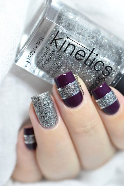 Marine Loves Polish: Color block nail art with Kinetics Gala The Big Party collection - New Year's Eve nail art - striping tape - glitter