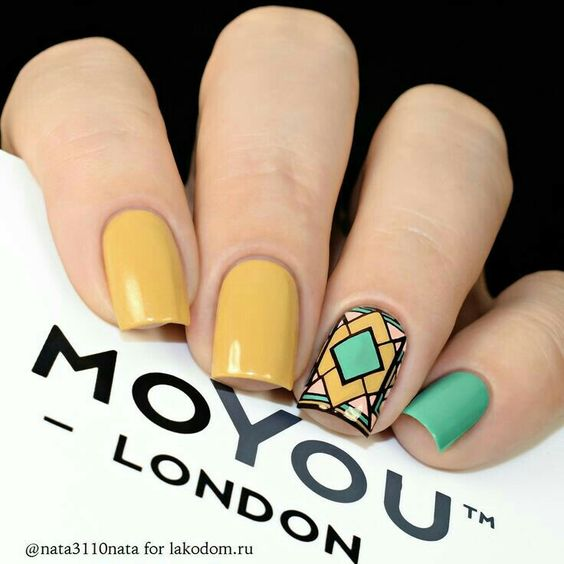 If all the nails were green with that art deco mosaic accent nail.